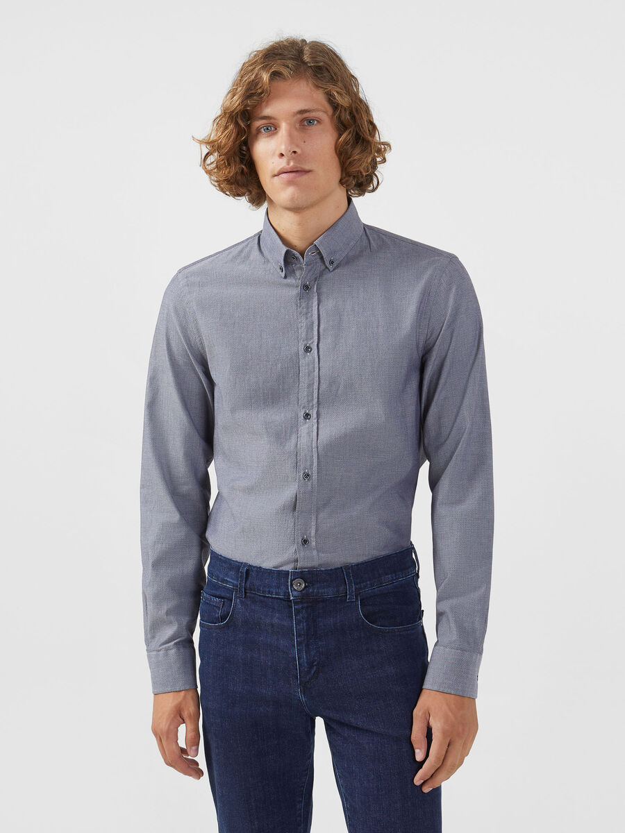 Camicia button-down regular fit in micro jacquard