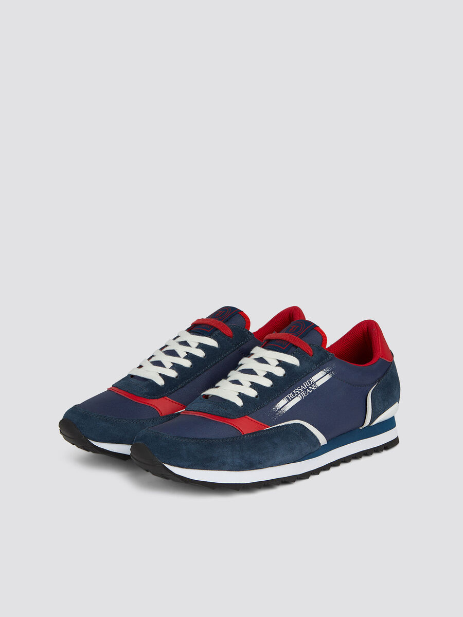 Sneakers de running multicolores daim et nylon a lacets
