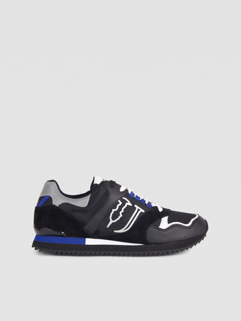 Leather and technical fabric running sneaker with laces