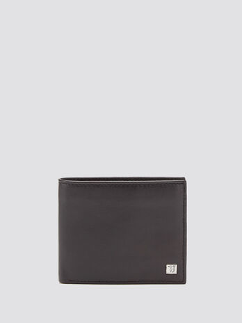 Grainy side opening wallet with logo