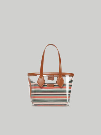 Small Logo Pop shopper in PVC and canvas