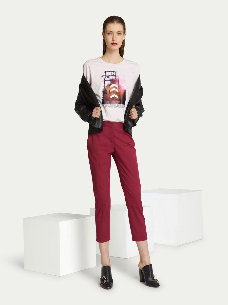 T-shirt regular fit in jersey di cotone con lettering