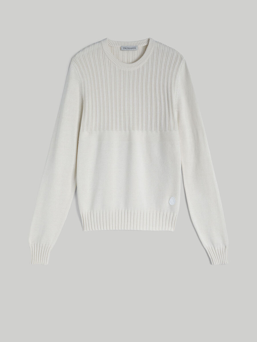 Regular-fit cotton and silk pullover with detailing