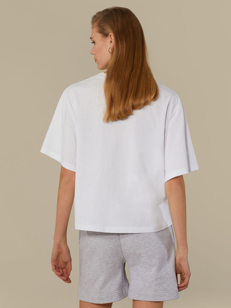 Oversized T-shirt in printed pure cotton
