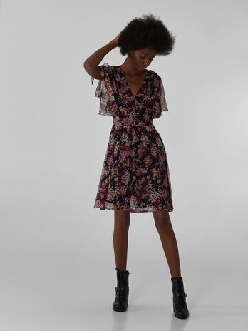 Short Georgette dress with floral print