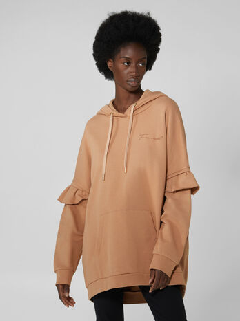 Oversized cotton hoody with ruches