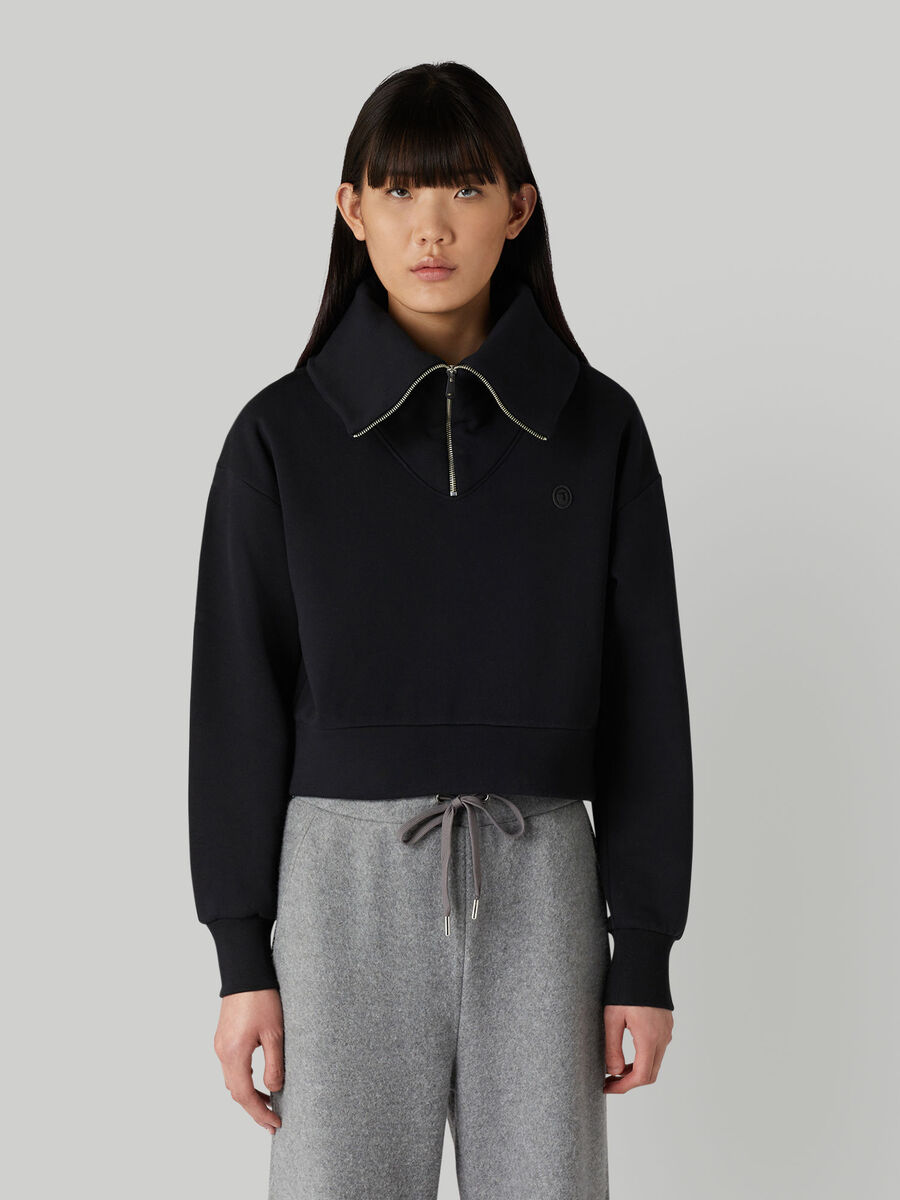 Cropped cotton sweatshirt with maxi-neck