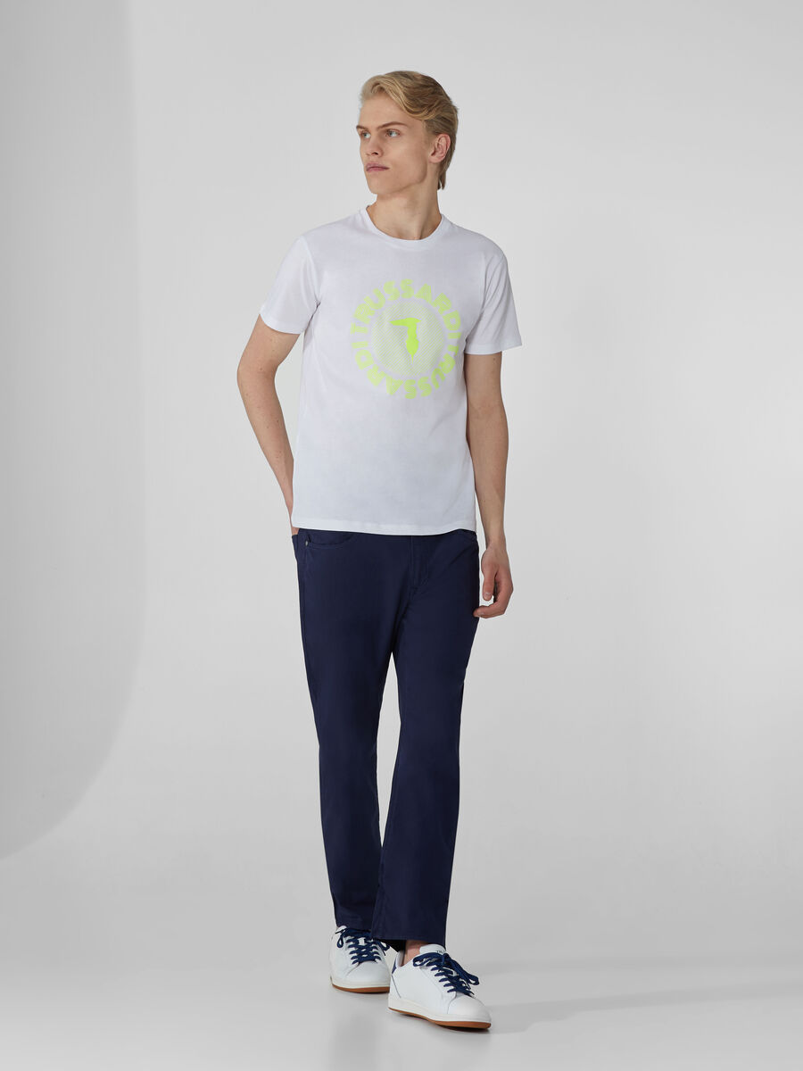 Regular-fit jersey T-shirt with neon print