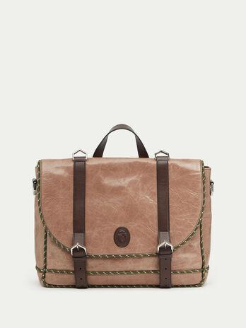 Tresor calfskin briefcase with mesh detailing