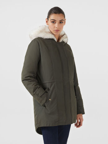 Gabardine parka with faux fur gilet