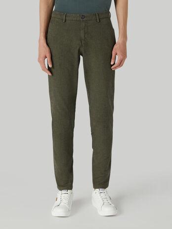 70s-fit cotton melange trousers
