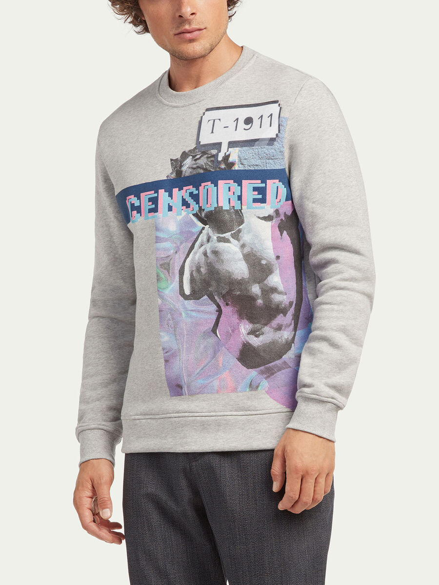 Regular fit melange sweatshirt with print detail