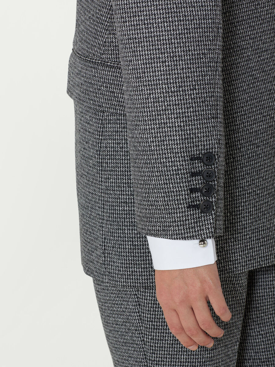 Micro houndstooth blazer