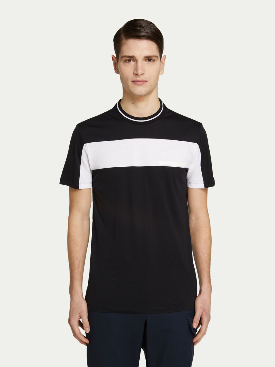 T shirt regular fit in jersey con banda a contrasto