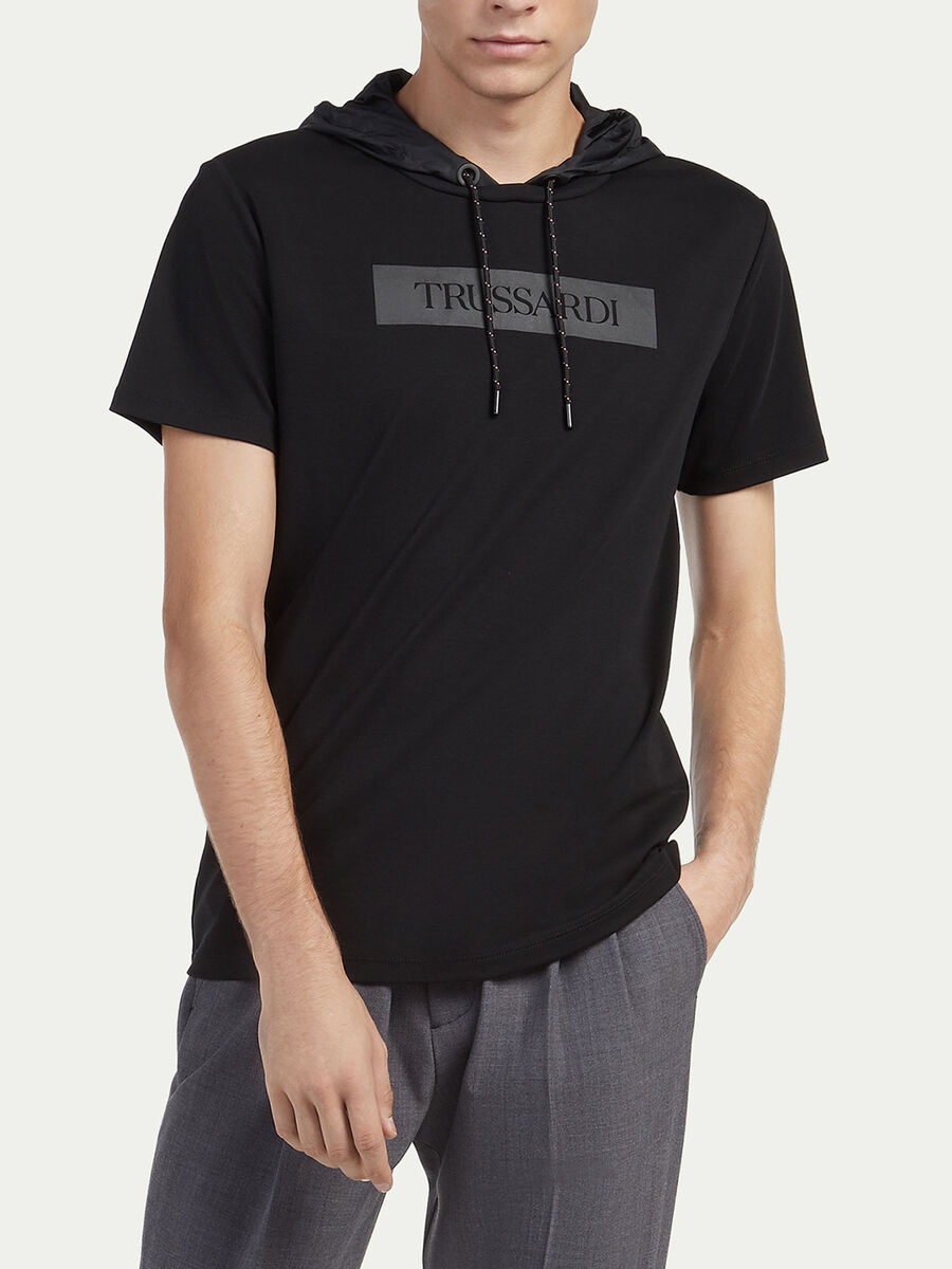 Regular fit hoody T shirt with lettering print