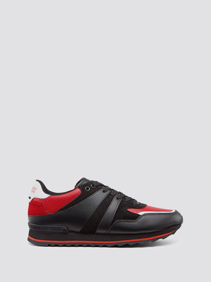 Sneakers running in pelle con lacci