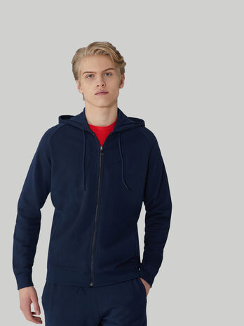 Regular-fit cotton hoody with zip