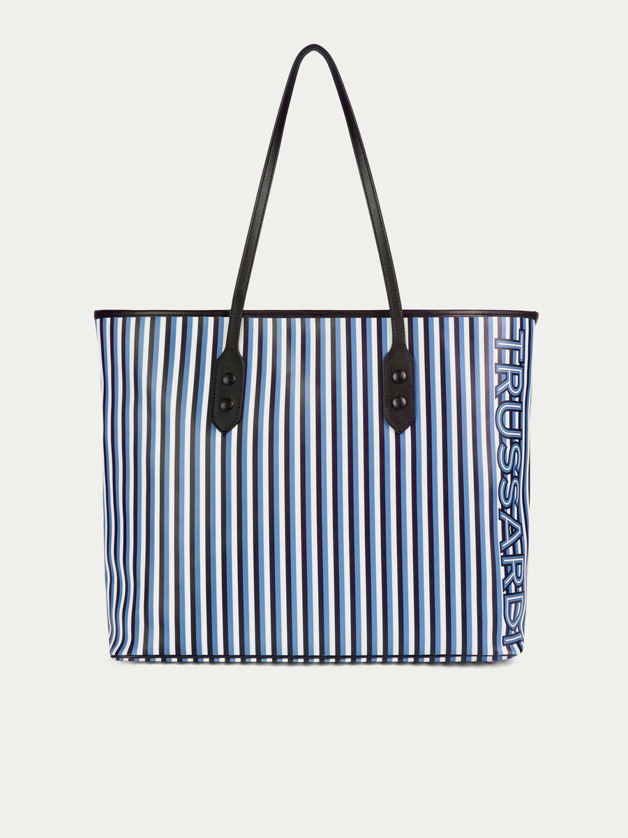 Shopping bag large in pelle con stampa rigata