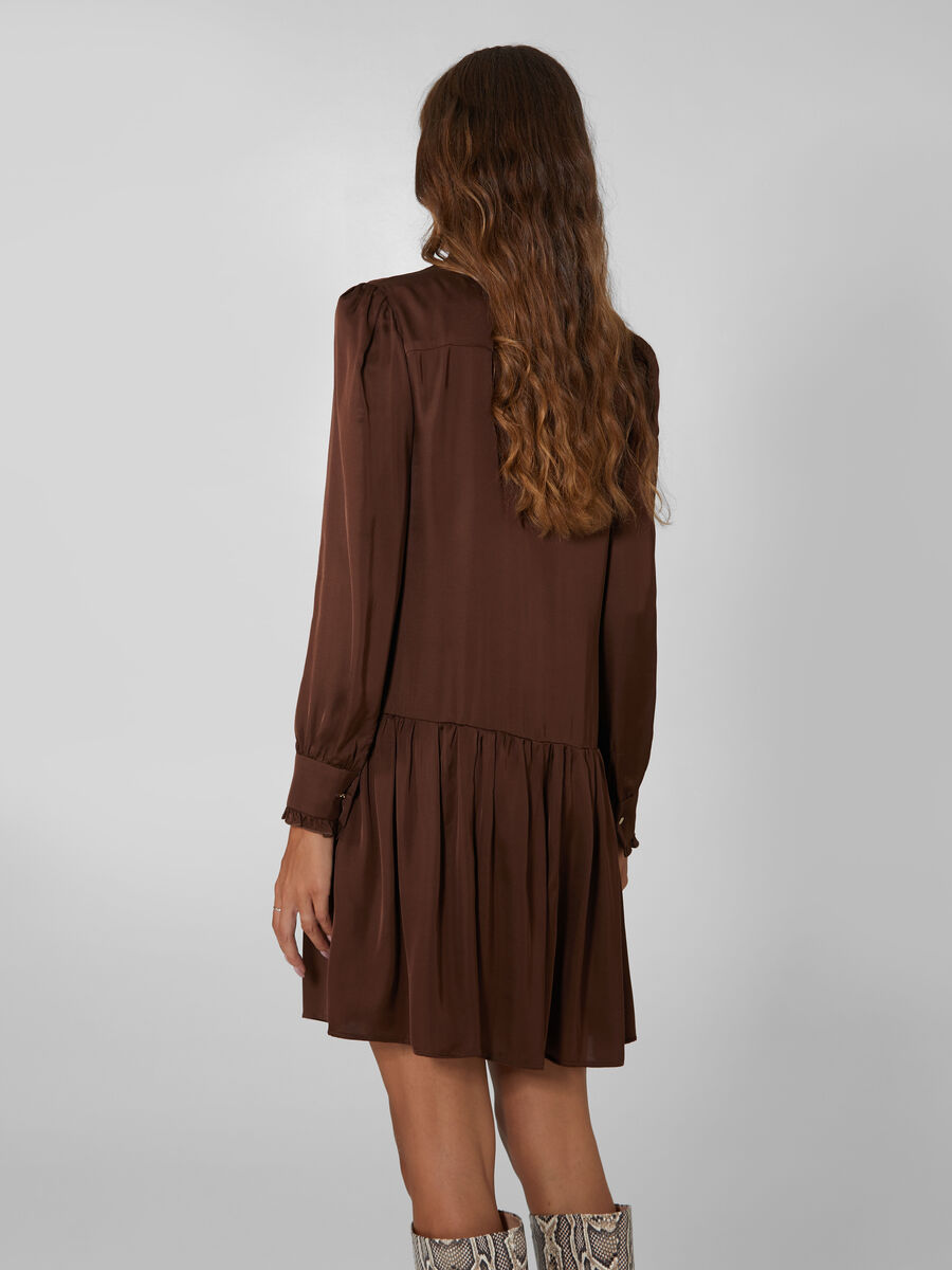Satin dress with ruffled skirt