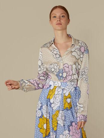 Hemdbluse aus Viskose mit Blumenprint