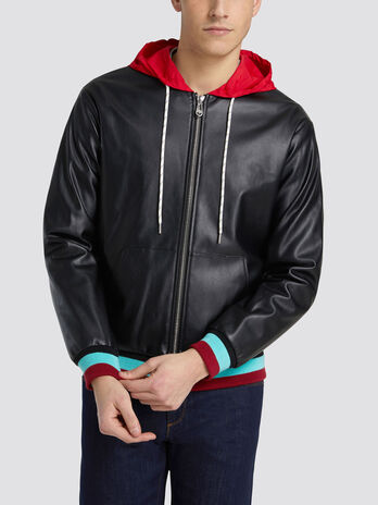 Regular fit faux leather bomber jacket colourful hood