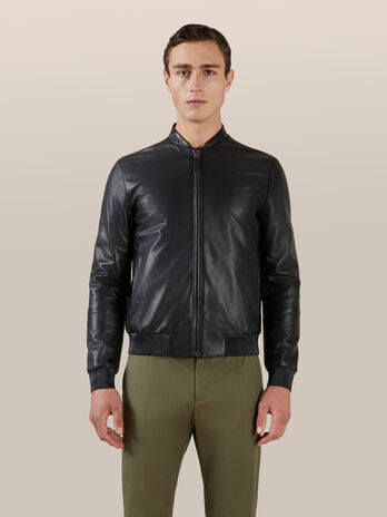 Regular fit matte leather bomber jacket