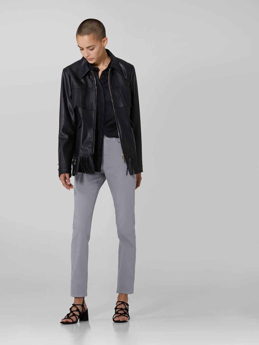 Soft faux leather jacket with fringing