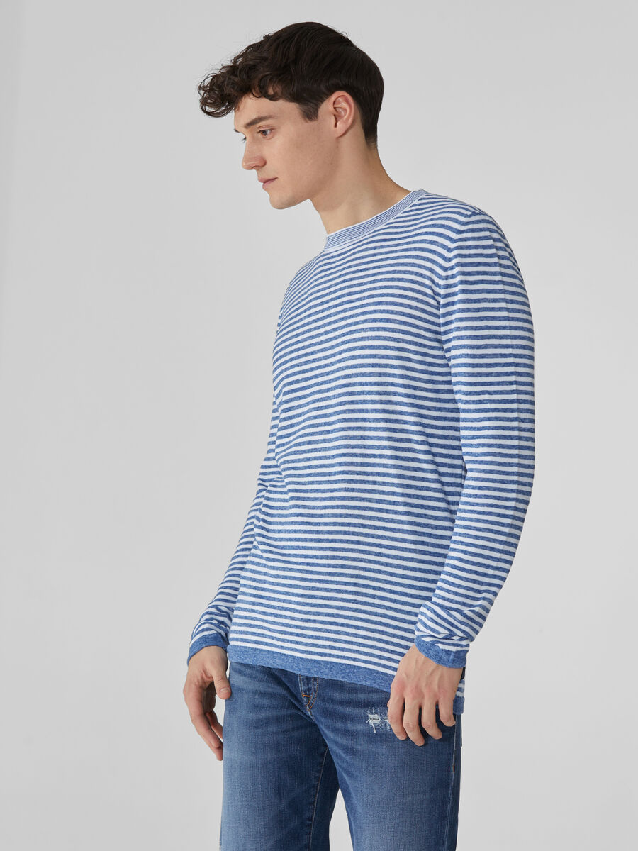 Striped linen and cotton crew-neck pullover
