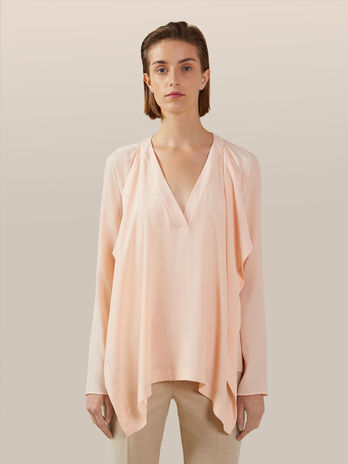 Ruffled light crepe blouse