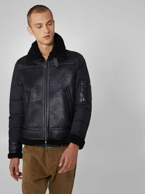 Nylon and faux shearling jacket