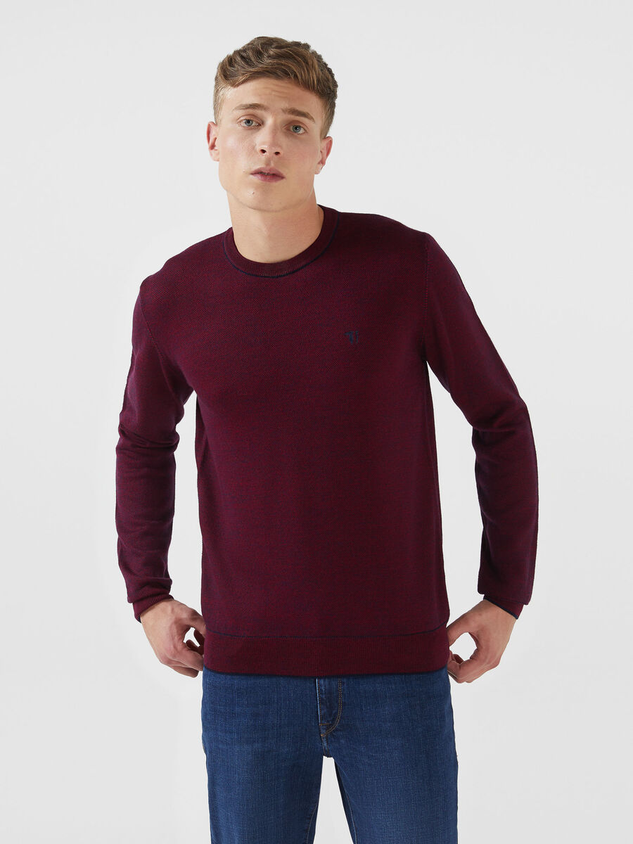 Regular fit two tone wool blend pullover