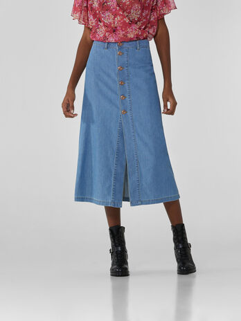 Long light blue denim skirt
