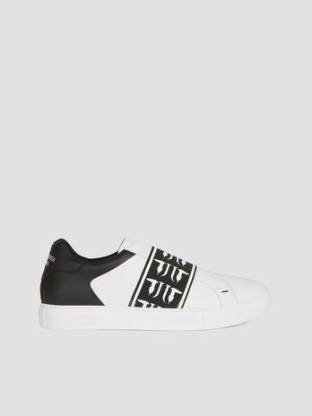Two tone faux leather sneakers with branded strap
