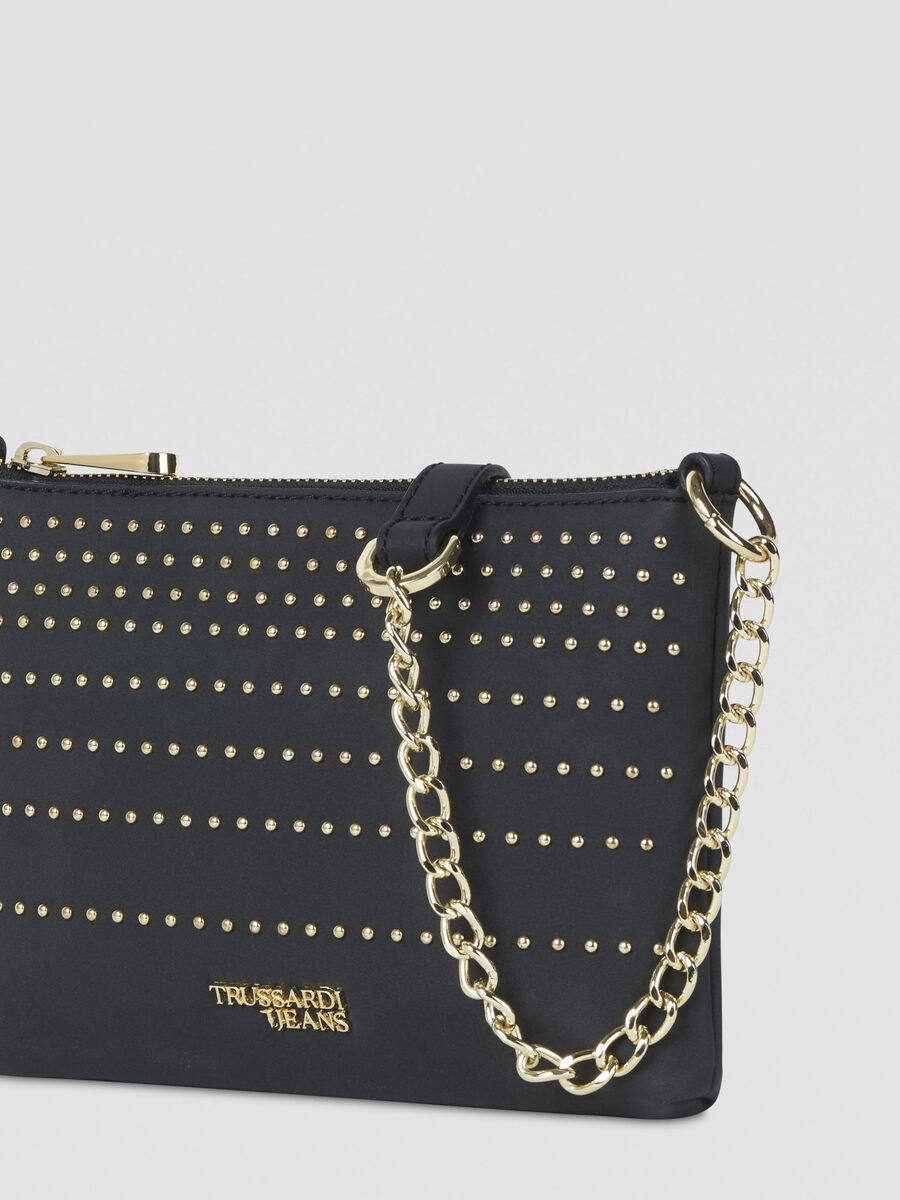 Faux leather Anita clutch with studs