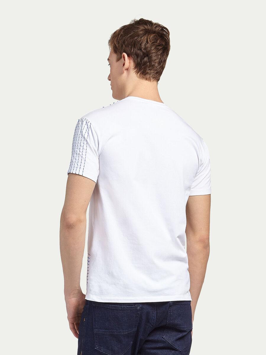 Stretch jersey T shirt with stitching