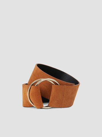 High suede belt with ring details