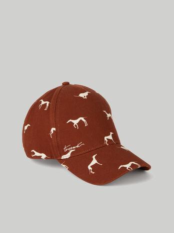Cotton baseball cap with Levriero prints