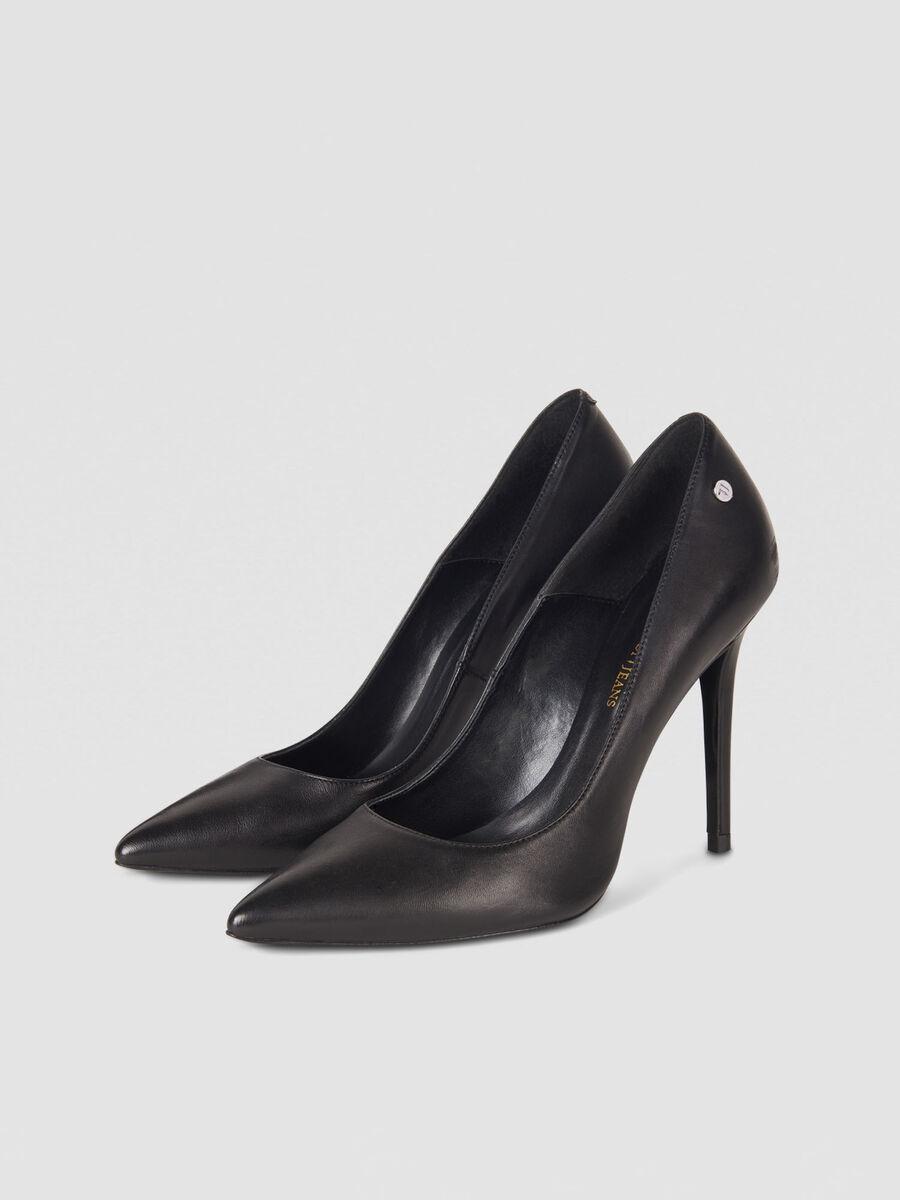 High heeled nappa leather pumps