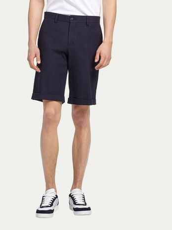 Stretch cotton Bermuda shorts with turn up