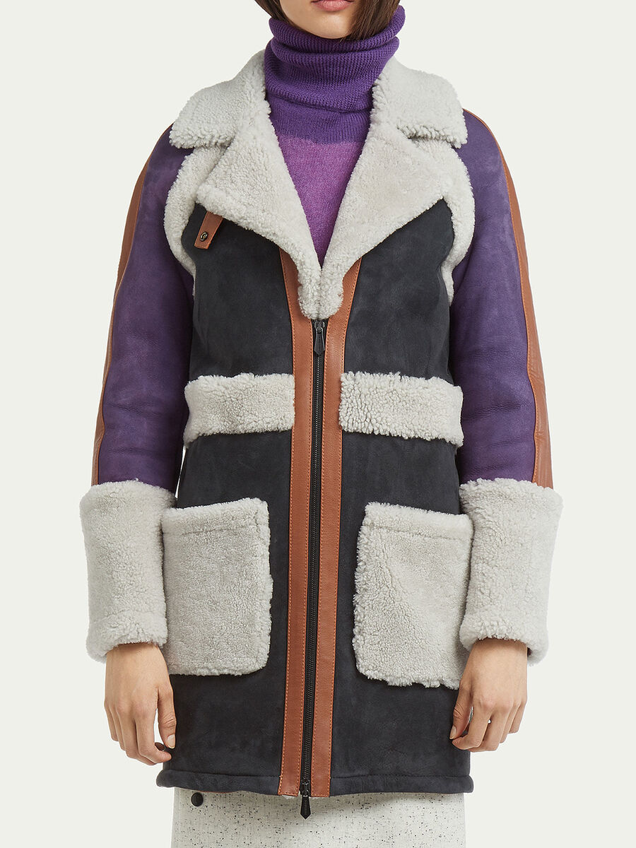 Cappotto shearling in blocchi bicolore