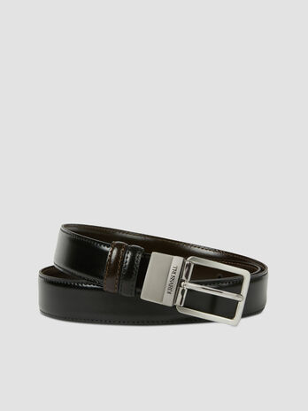 Reversible belt in shiny leather