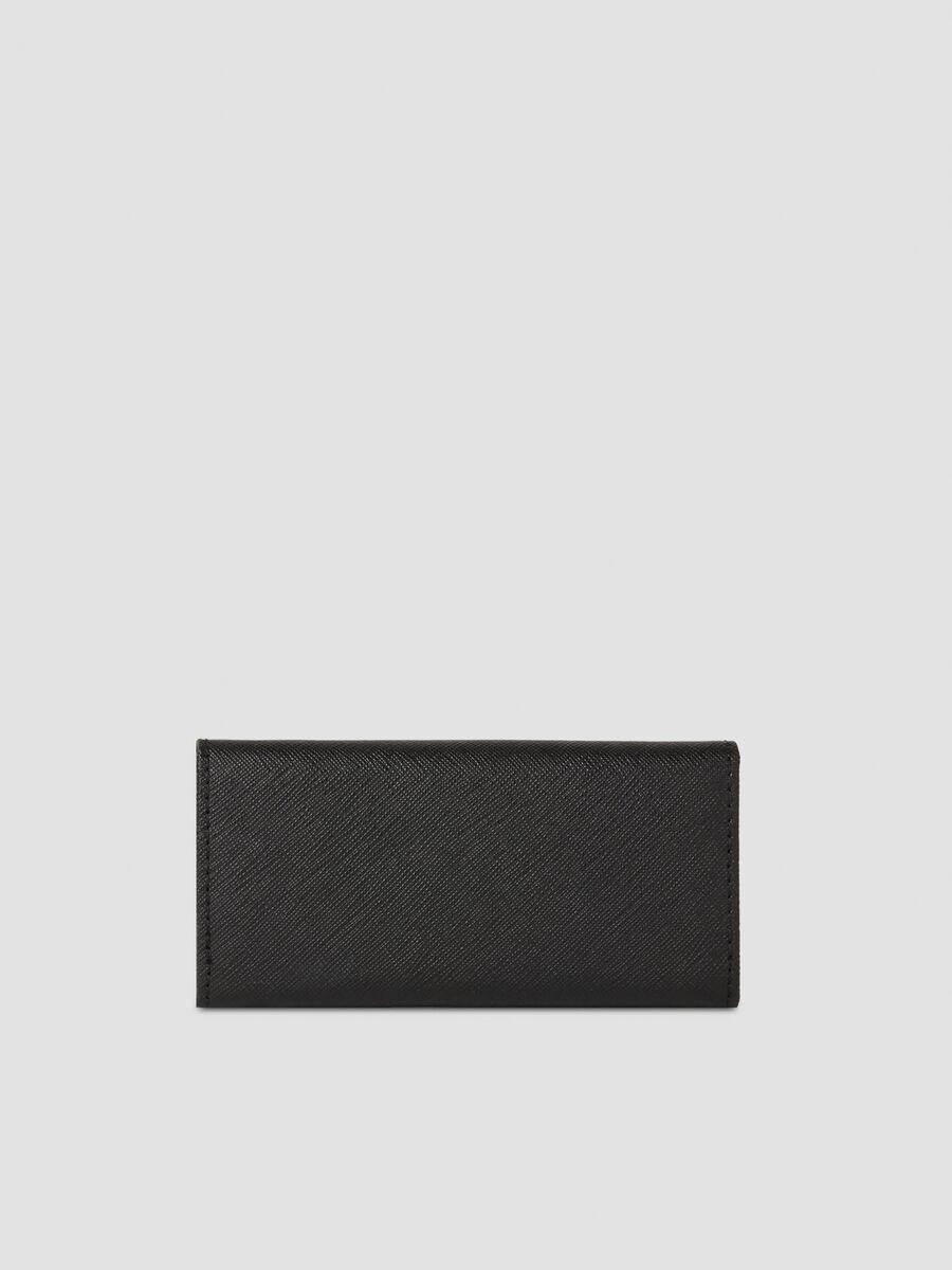 Medium faux saffiano leather key ring
