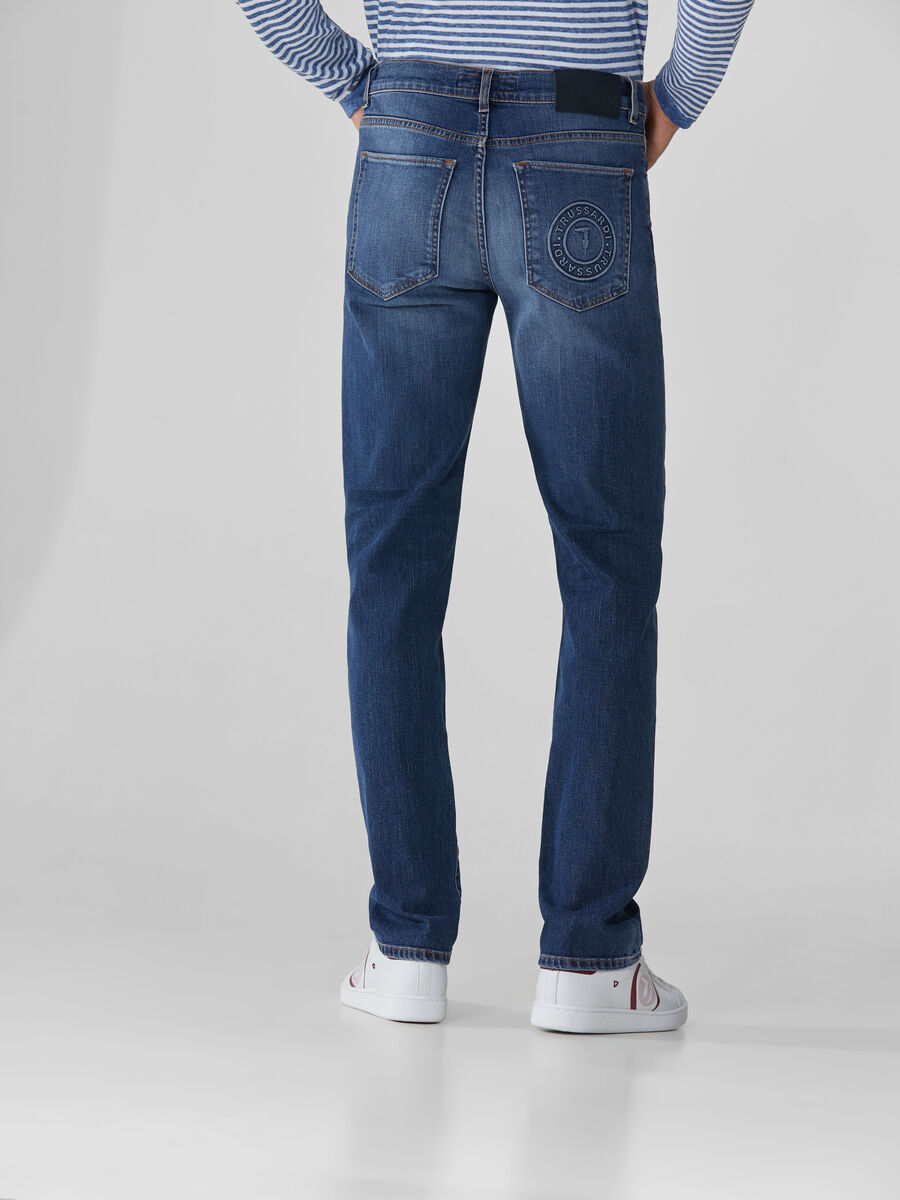 Icon 380 cotton denim jeans with logo