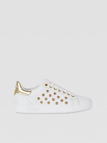 Faux leather sneakers with metal details