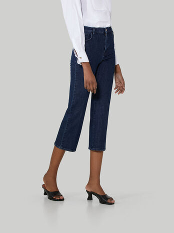 Wide-leg cotton denim jeans