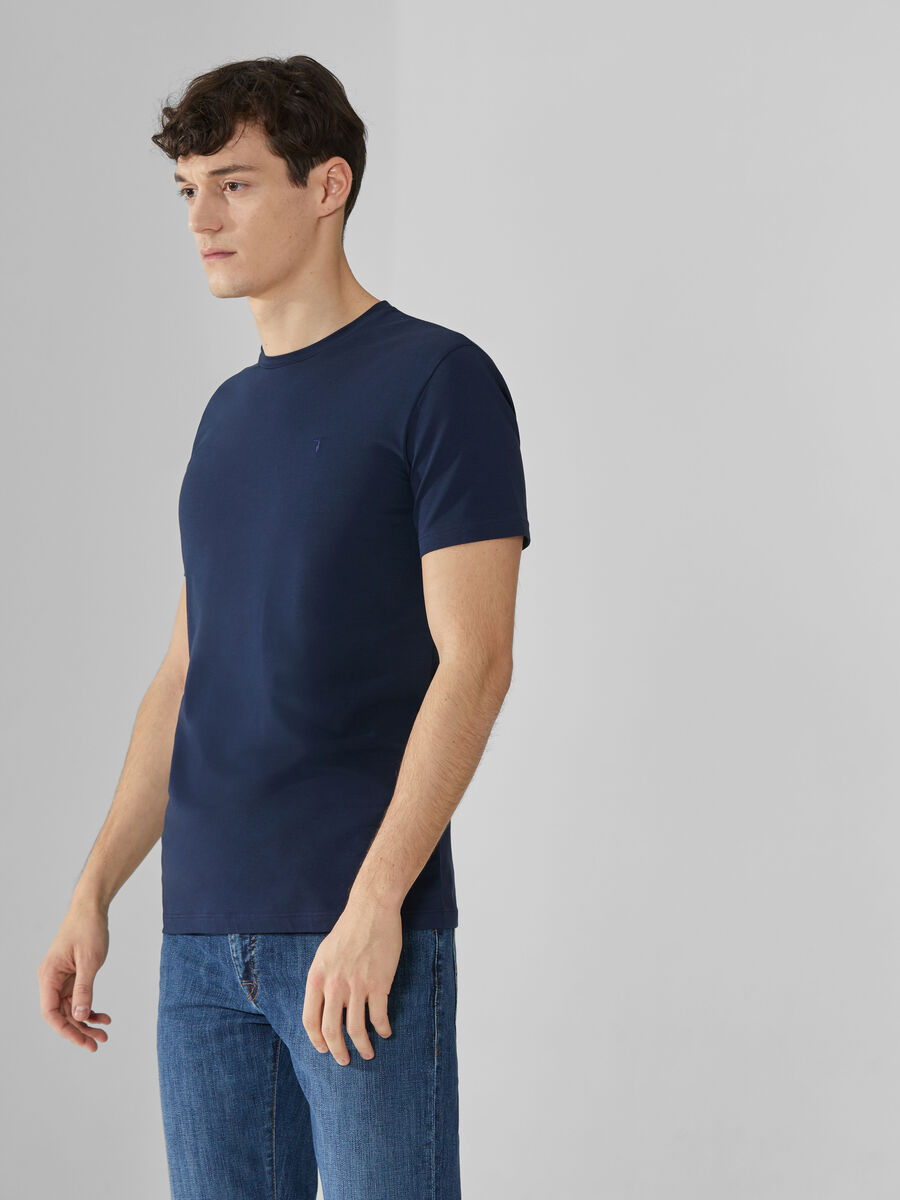 T-shirt slim fit in jersey di cotone stretch