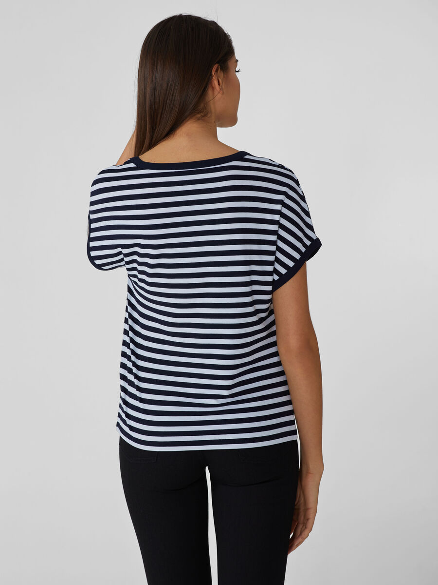 Striped viscose jersey T-shirt