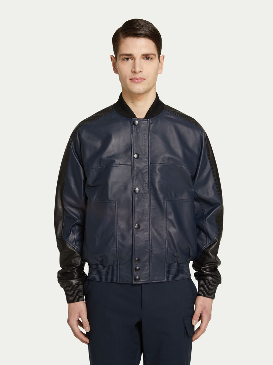 Regular fit two tone leather bomber jacket with buttons
