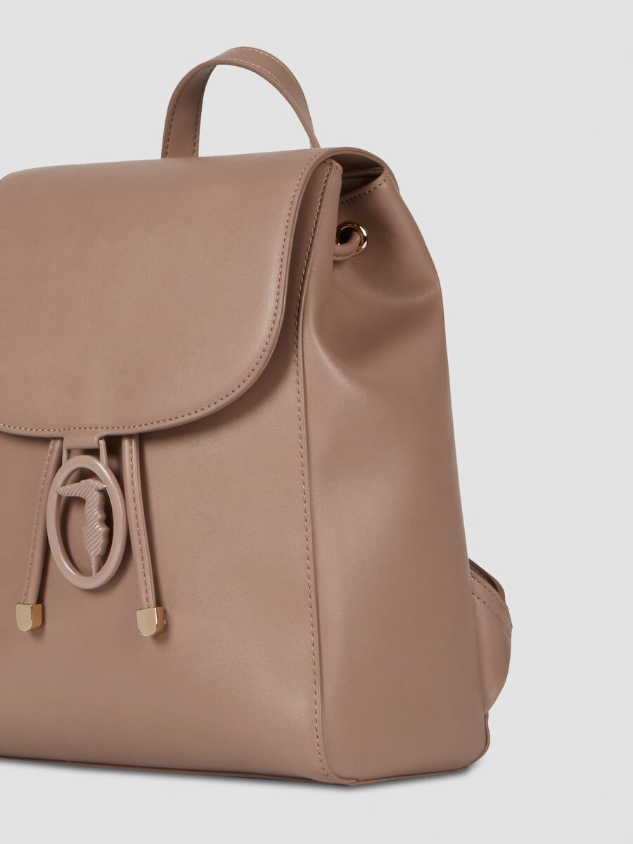 Solid colour smooth faux leather backpack