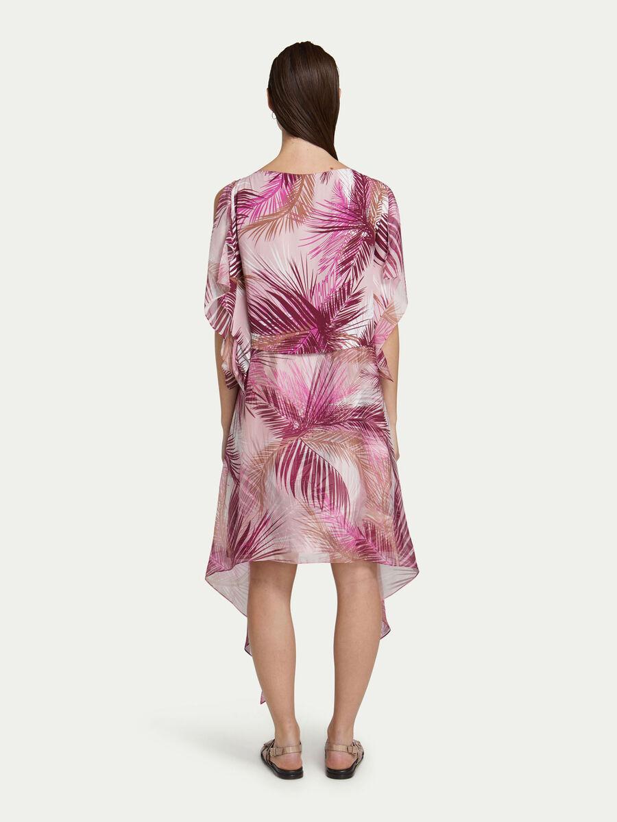 Kleid aus Crepe de Chine mit Palmen Print
